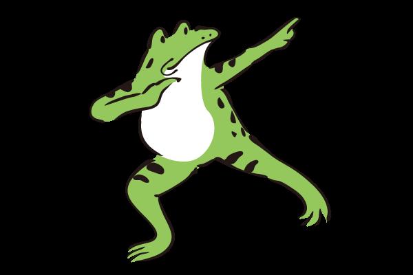 ボルトポーズの真似するカエル – ダ鳥獣戯画
