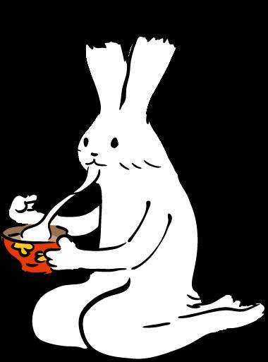 お雑煮を食すウサギのイラスト