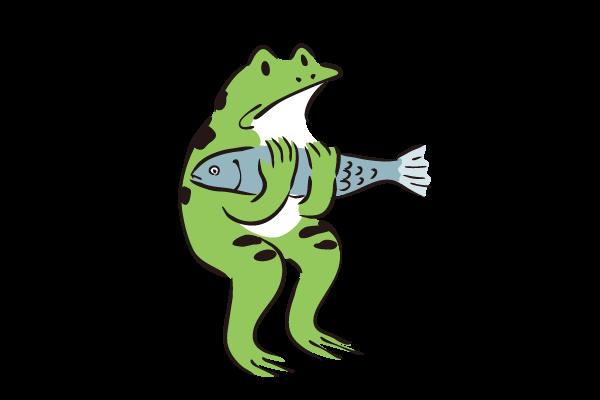 魚を持つカエルのイラスト