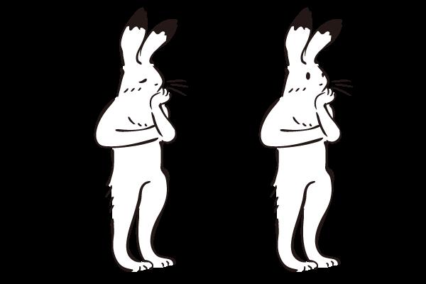 思い悩むウサギさんのイラスト