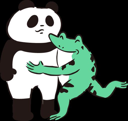 パンダを抱くカエル