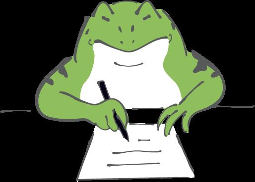 勉強するカエルの無料イラスト
